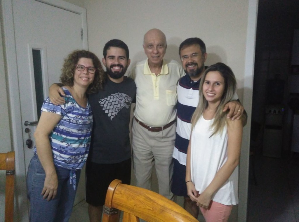 Professora Simone Miranda, Igor Miranda, Jornalista Luiz Carlos Pereira Coelho, professor Hamilton Miranda Júnior e Bianca Miranda