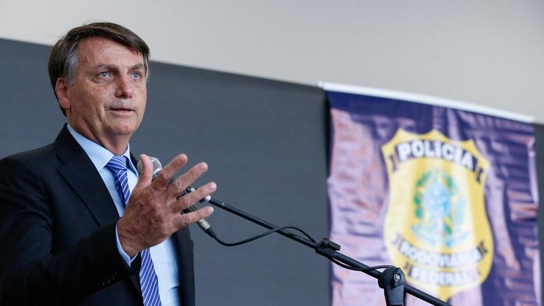 Presidente Jair Bolsonaro participa de cerimônia na Superintendência da Polícia Rodoviária Federal no Rio de Janeiro